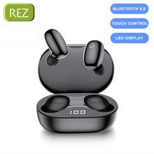 REZ W2 TWS 터치 컨트롤 Bluetooth 5.0 이어폰 스포츠 음악 무선 이어 버드 헤드폰 소음 차단 게임용 헤드셋