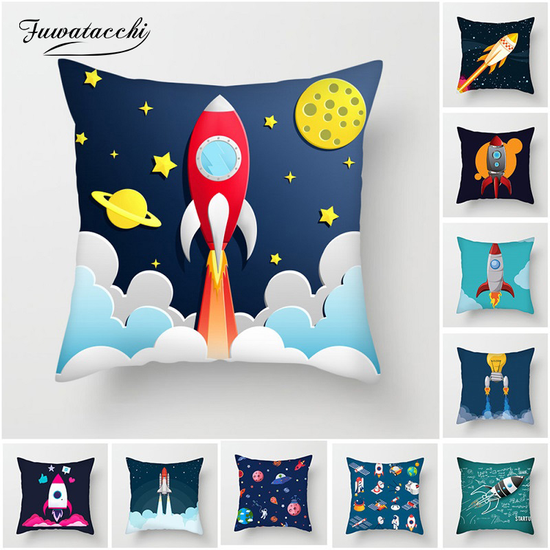 Fuwatacchi Cartoon Spacecraft Cushion Cover Astronaut Rocket Pillow Cover For Home Chair Outer Space Decorative Pillows 45*45cm