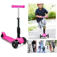 3 Wheel Children Scooters Kick Scooter With Seat Adjustable Height Kids Scooter Bike with LED Light Up Wheels kids skateboard