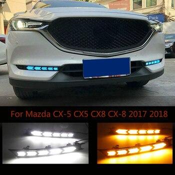 For Mazda CX-5 CX5 2017 2018 Dynamic Turn Yellow Signal Function Waterproof Car DRL 12V LED Daytime Running Light Daylight