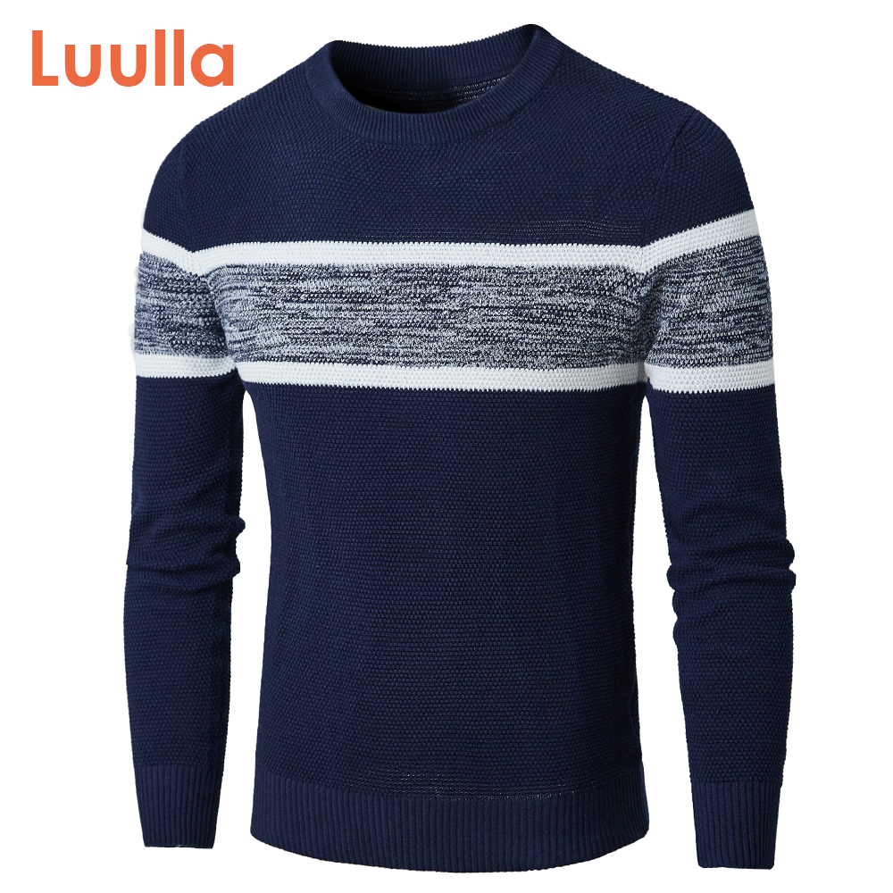 Luulla Men Autumn New Classic Casual Knitted Cotton Sweaters Pullover Men 2020 Winter Fashion Striped O-Neck Sweater Coat Men