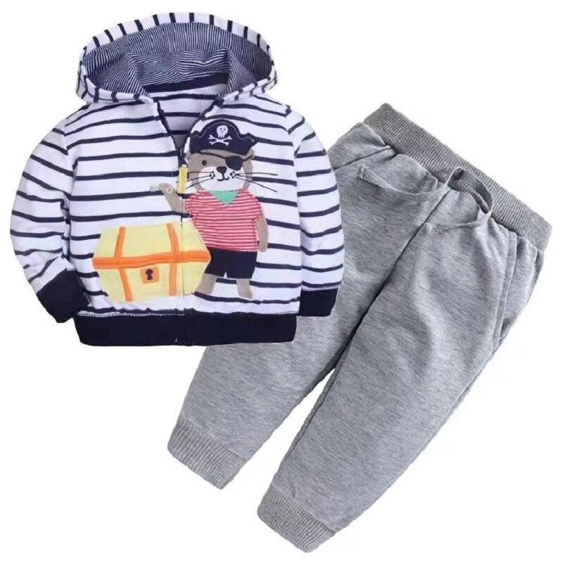 Одежда для маленьких девочек пальто с капюшоном с длинными рукавами и вышитым единорогом+ штаны, г. Весенняя одежда для маленьких мальчиков комплект для малышей, одежда для малышей - Цвет: 7