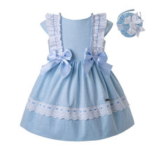 Cutestyles Summer Blue Baby Girls Party Dresses With Bow Infant Kids Dress For Boutique Clothing With Headband EG-DMGD201-C144(Hong Kong,China)