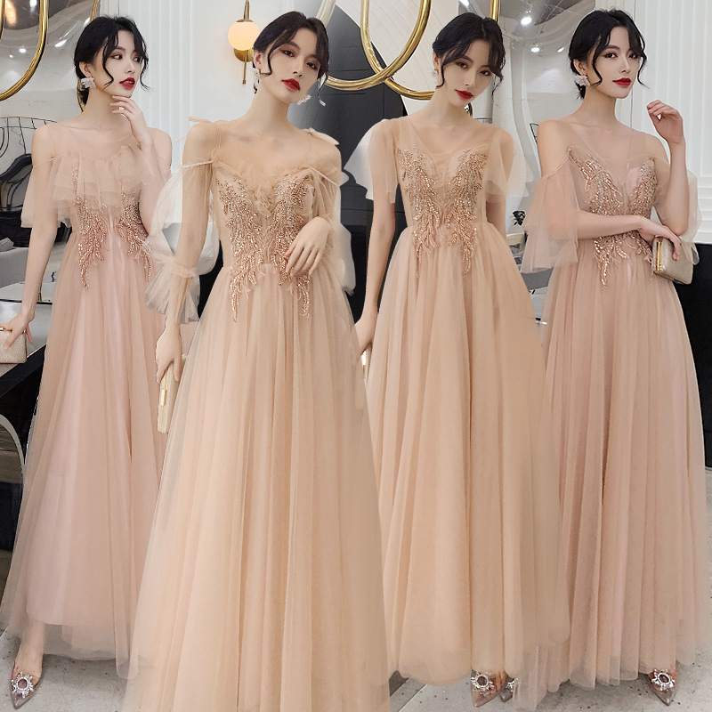 Bridesmaid Dresses Sequin Embroidery Pattern Wedding Party Dress V-Neck Short Sleeve Elegant Gowns Floor Length Vestidos R085