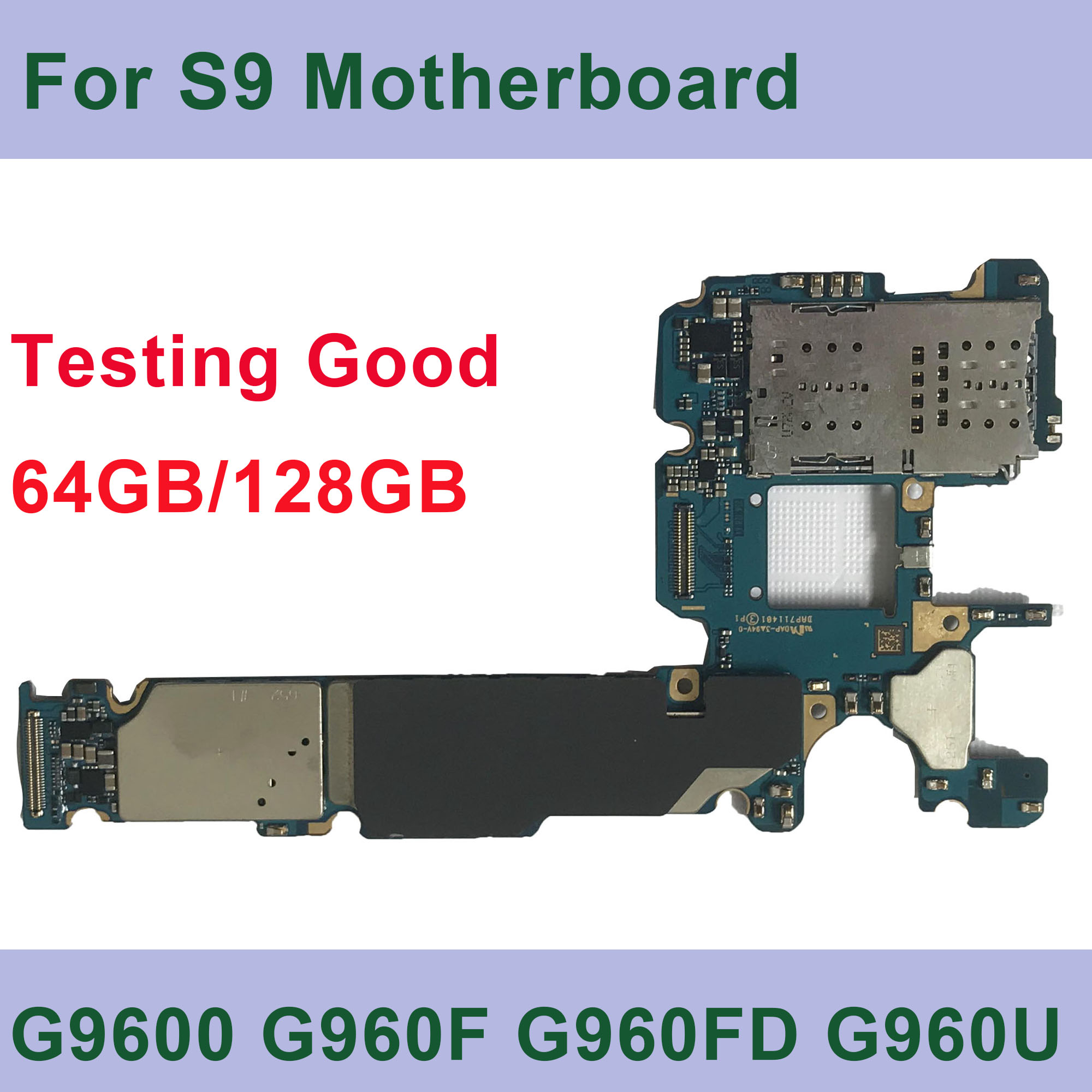 Tehxv Original Unlock Motherboard For Samsung Galaxy <font><b>S9</b></font> <font><b>G9600</b></font> G960U G960FD G960F Install AOS Logic Board With Chip 64GB image
