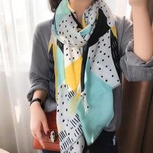 Scarf Women Muffler Spring Blue Autumn KYQIAO Hijab Fresh Geometric Patchwork Japanese-Style