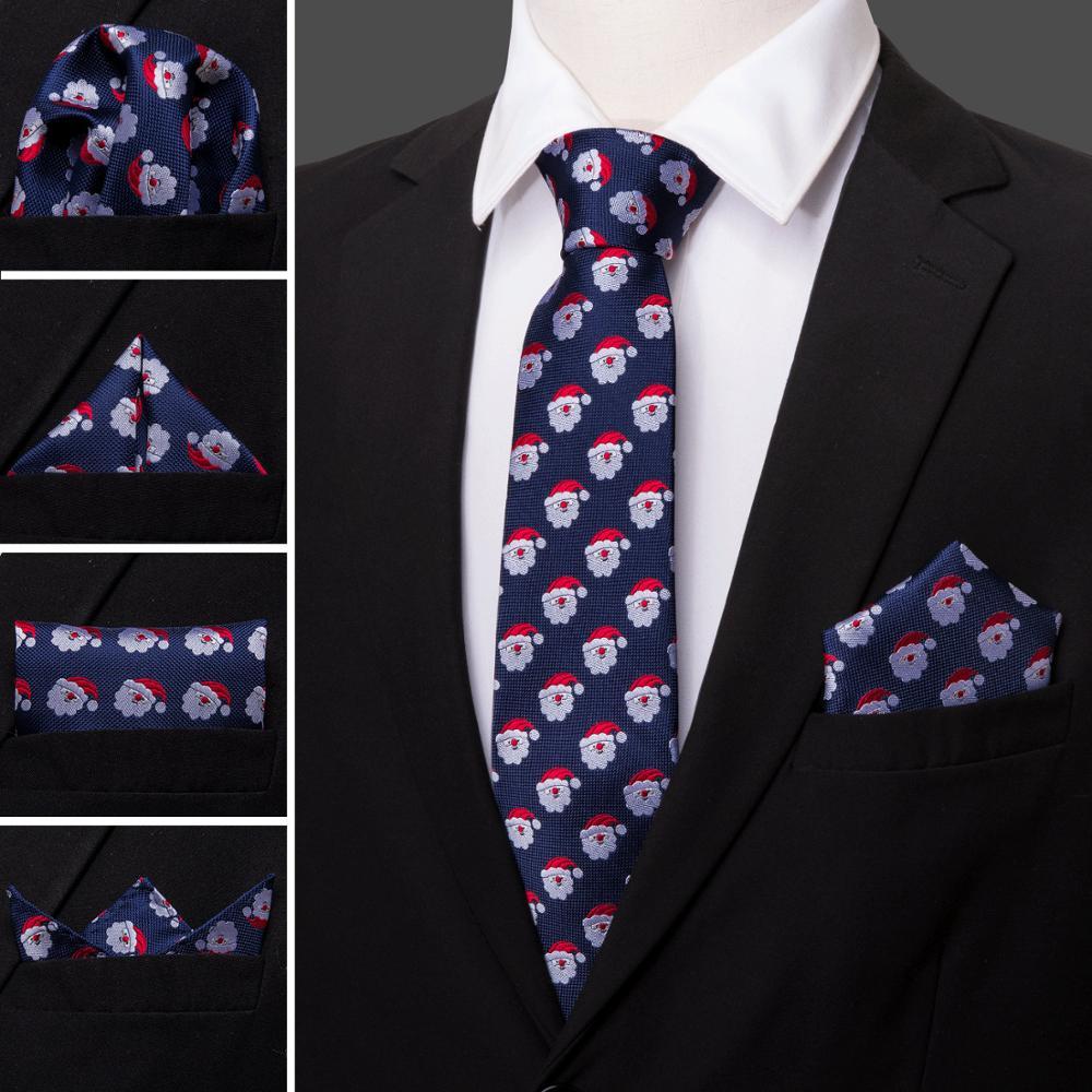 Navy Christmas Tie Silk Tie For Men Wedding Tie Party Necktie Handkerchief Cravat Barry.Wang Fashion Designer Tie Set LS-5223