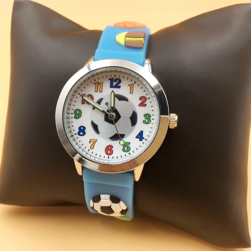 Blue Jelly Silicone Kids Boys Watches Waterproof Sports Students Wristwatches 3D Football Fashion Girl Analog Quartz Watch Gift