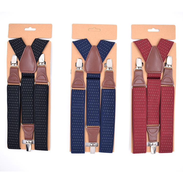 Cross Border Supply Of Goods Europe And America Men 3 Clip Jacquard Suspender Strap Adult Casual Leather Tip Elastic Suspender S