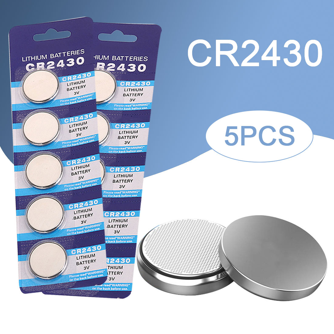 5PCS CR2430 Button Battery Watch Battery DL2430 BR2430 ECR2430 Coin Cell Lithium Batteries For Watch Toy Calculator Clock