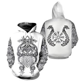 цена на Drop shipping 2019 New Fashion Viking Tattoo Hoodie 3D Print Fenrir & Tyr Viking Sweatshirt Unisex streetwear sudadera hombre