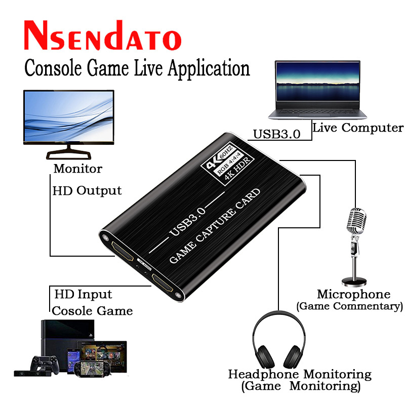 4K 1080P USB 3.0 HD Video Capture HD to USB3.0 Video capture Dongle Card Game Live streaming Recording with Audio Mic input 4