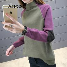 Wool sweater stitching multicolor Turtleneck autumn winter new women's turtleneck sweater loose Korean color matching long turtleneck adze turtleneck