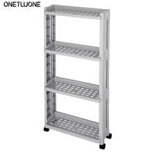2/3/4 Layer Gap Kitchen Storage Shelf Rack Slim Slide Tower Movable Assemble With Wheels Bathroom Accessories Kitchen Organizer