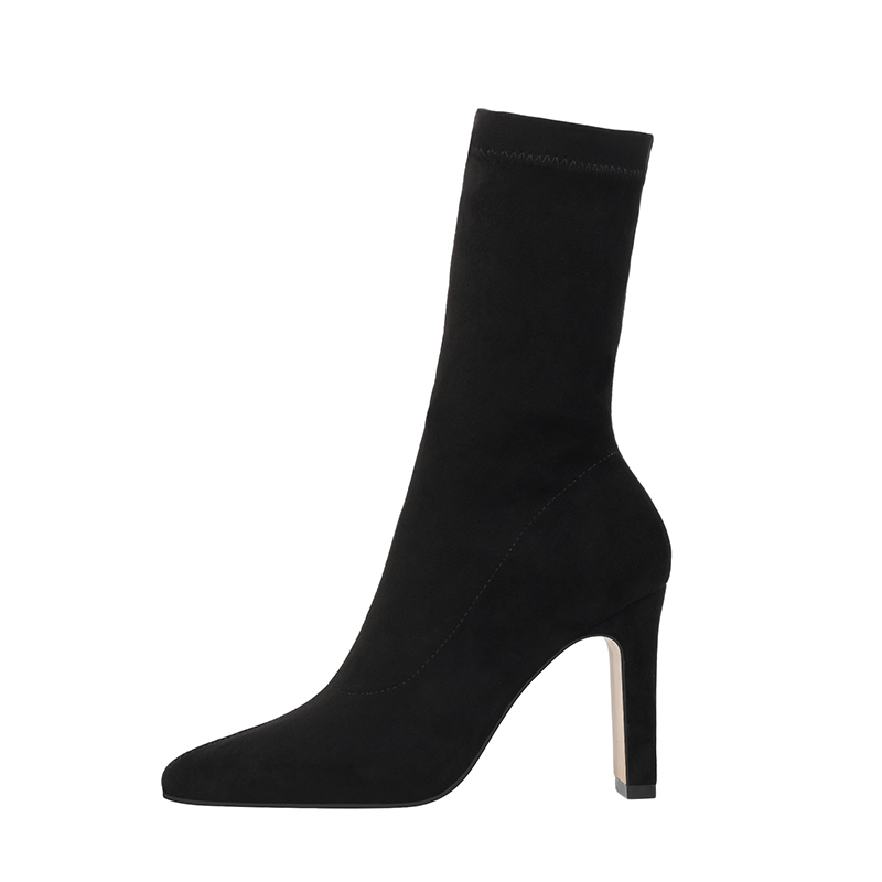 Image 3 - Women High Heel Sock Boots Plus Size Sexy Flock Pointed Toe Ankle Booties Female Sexy Party Winter Woman Fashion Shoes BootsAnkle Boots   -