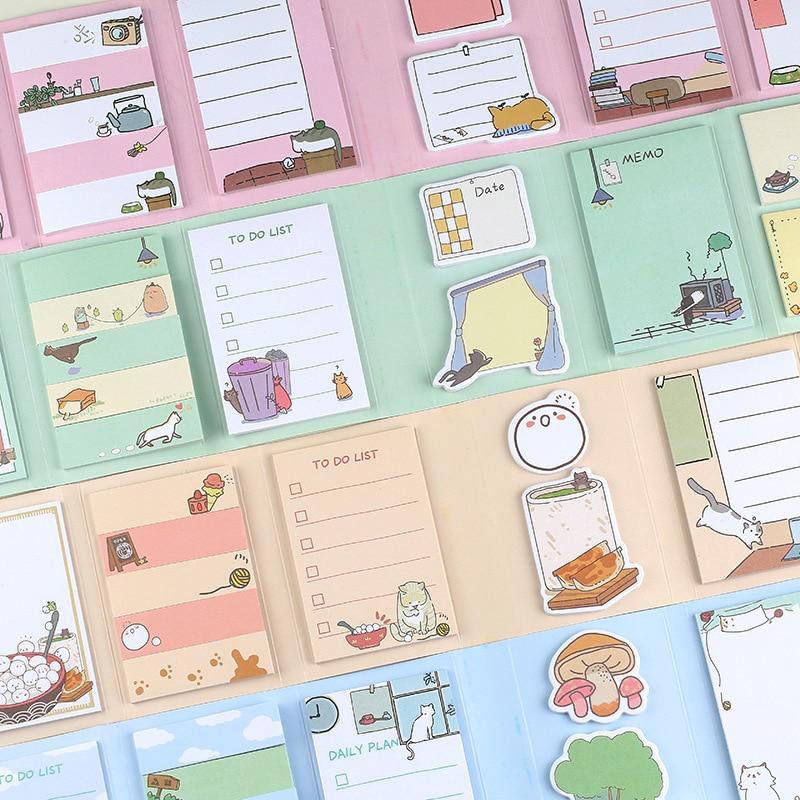 Almofada de notas adesivas, marcador de página para feriados normal meia de açúcar chá 6 dobrável para fazer lista, planejador semanal, notas adesivas, fonte de escola