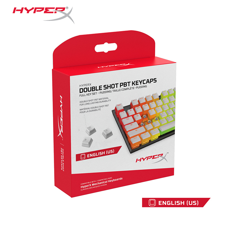 HyperX Pudding Keycap Double Shot PBT Keycaps feature a translucent Pudding  dual-layer style