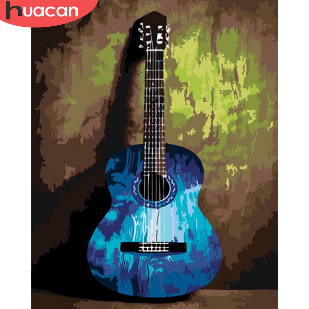 HUACAN Painting By Numbers Guitar Pictures Gift Kits Drawing Canvas HandPainted Music Home Decor