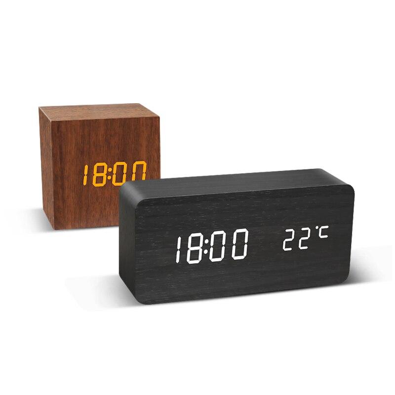 LED en bois réveil montre Table commande vocale numérique bois désespoir USB/AAA alimenté électronique horloges de bureau décor de Table