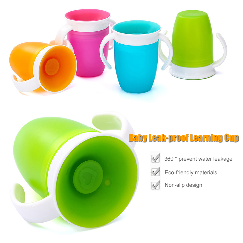 360 Degrees Can Be Rotated Baby Learning Drinking Cup With Double Handle LeakProof Child Water Cup Bottle 260ML