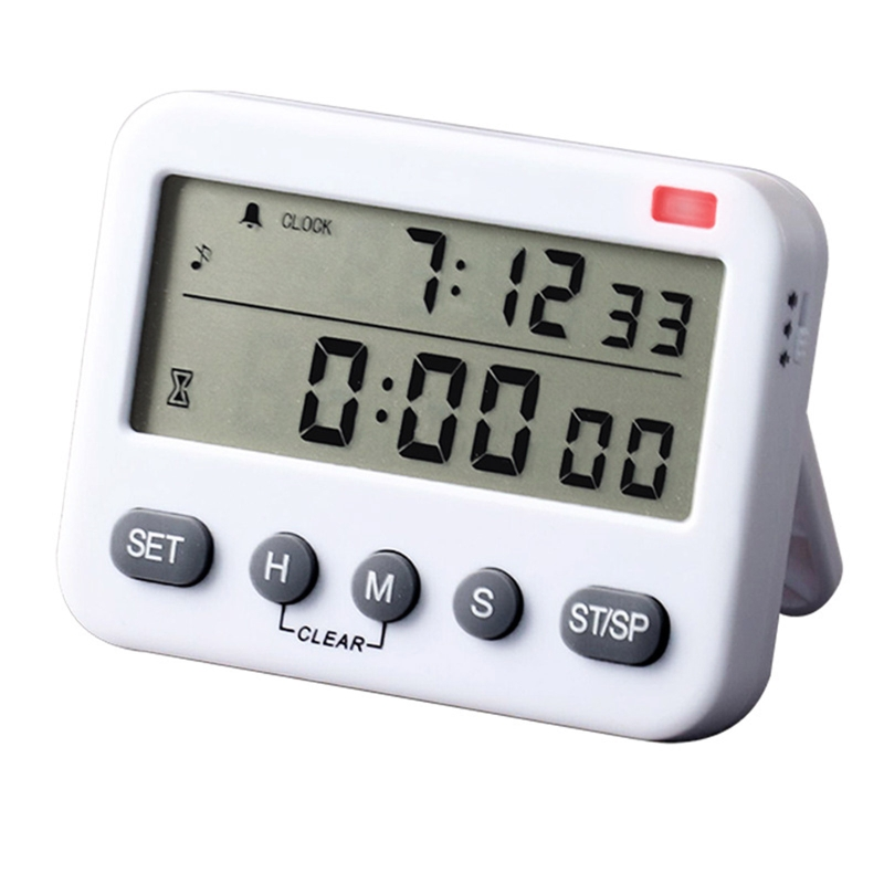 YS-218 Digital Timer 100 Hour Dual Count Down and Count Up Kitchen Timer with Magnet Hanging Bracket Large LCD Display