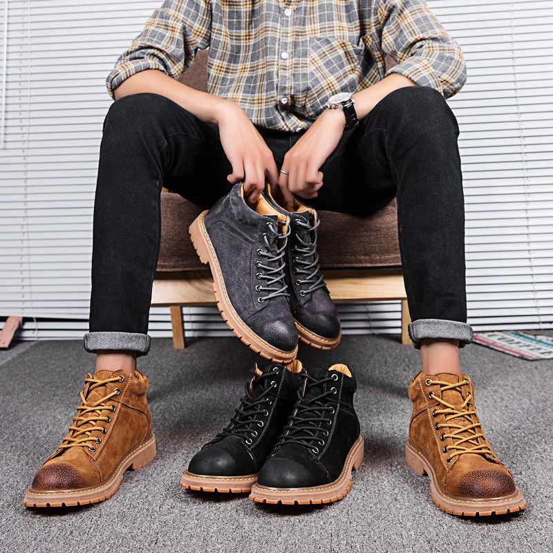 2019 Mannen Laarzen Lederen Hoge Top Laarzen Lace Up Mannen Schoenen Winter Motorlaarzen Comfort Tactische Business Tooling Laarzen