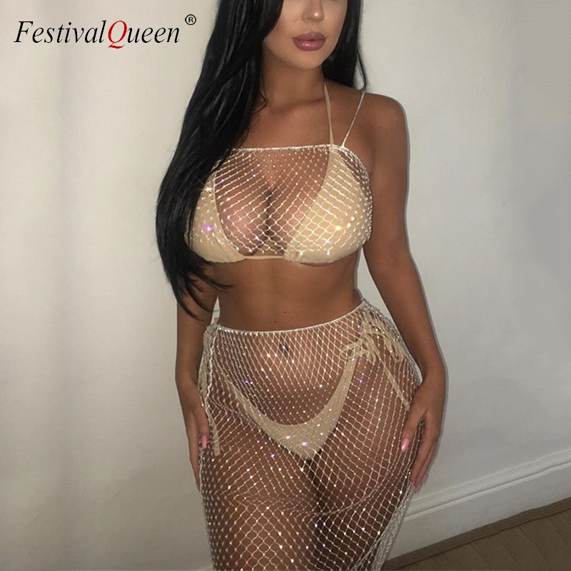 Glitter Crystal Rhinestones 2 Piece Set Lace Up Plaid Crop Tops Fishnet See Through Skirt Summer Sexy Women Outfits Party Club