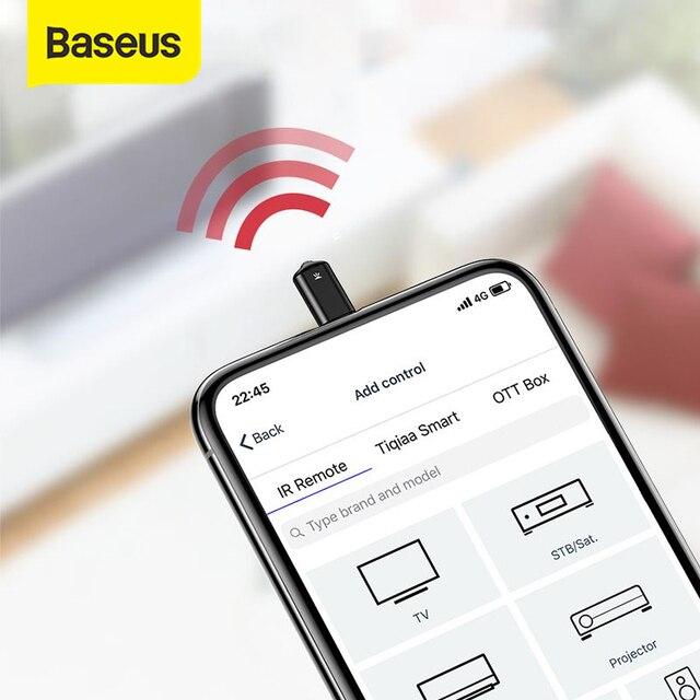 Baseusรีโมทคอนโทรลไร้สายIRสำหรับSamsung Xiaomi Type Cแจ็คสมาร์ทอินฟราเรดรีโมทคอนโทรลสำหรับทีวีเครื่องปรับอากาศโปรเจคเตอร์