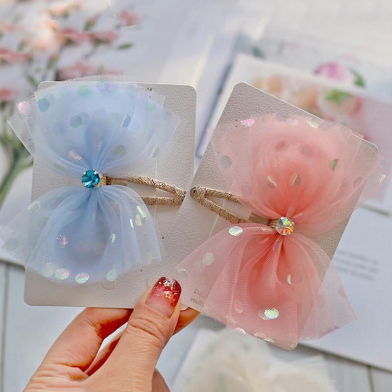 Korean Dot Mesh Hair Bows Sweet Color Princess Rhinestone BB Hair Clips Snap Pins Girls Hairgrips Kids Headdress Accessories