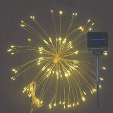 120 LED String Light Fairy Lamp Solar Power Hanging Starburst Twinkle Bouquet Shape with Remote Control Party Decor