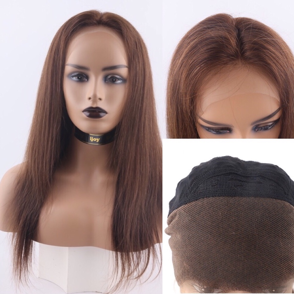 Human Hair Wigs Straight 13×4 Lace Front 18''-28'' 150% #4 Chocolate Brown Non-Remy Pre-Plucked Brazilian Hair IJOY