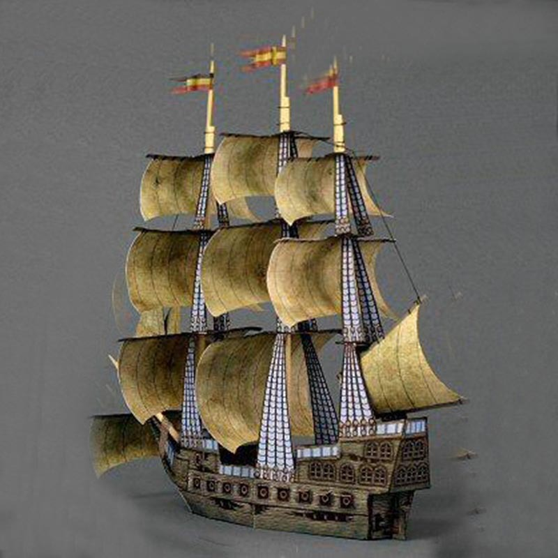 1:250 Ancient Sailing Pirate Boat DIY 3D Paper Card Model Building Sets Construction Toys Educational Toys Military Model
