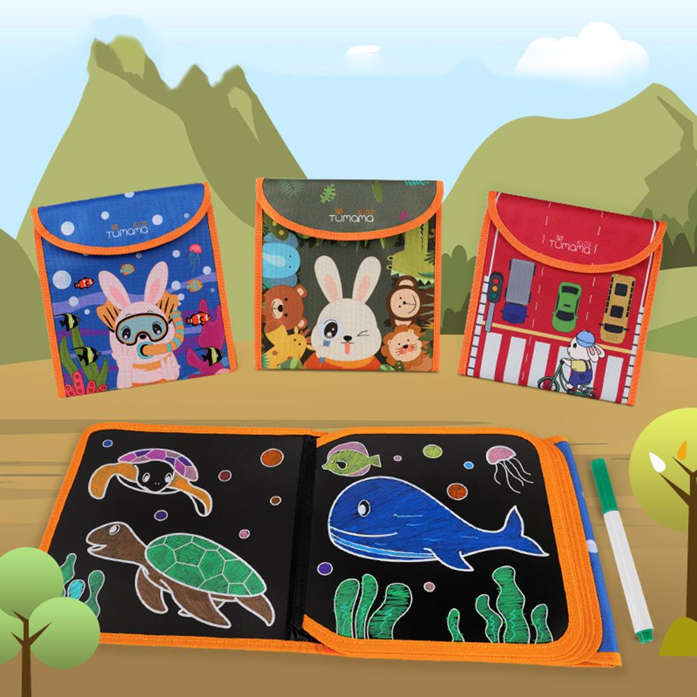 Tumama Portable Soft Drawing Board DIY Blackboard Painting Book Toy With Chalk