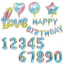 어린이 생일 축하 풍선 호일 그라디언트 레인보우 스타 하트 번호 ballons 편지 balon 헬륨 baloes 웨딩 풍선