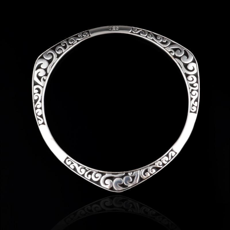 925 Silver Round Triangle Flower Make Letter Design Black Nation Style Full Cuff Bracelet Bangle For Women/men's Wholesale