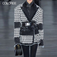 European 2019 Winter Women Jacket Vintage Houndstooth Plaid Coat Outerwear New Fashion Lapel Runway Designer Jacket For Female