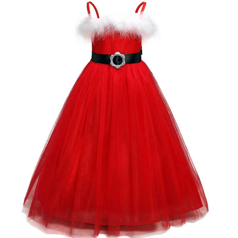 Natal Das Meninas Vestido De Ano Novo Vestido de Festa vermelho Vestidos de Baile de Aniversário Moda Adolescente Crianças Desgaste Formal Prom Vestidos Vestido Infantil