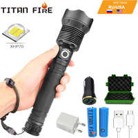 T20 LED Flashlight XHP70.2/XHP50 Powerful LED Torch High Lumens Adjustable Focus USB Rechargeable Handheld Light for Outdoor
