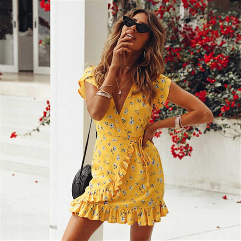 2020 frauen Floral V-ausschnitt Rüschen Print Kleid Mode Gelb Elegante Sommer Kleid Strand Mini Kleider Boho Stil Party Kleider