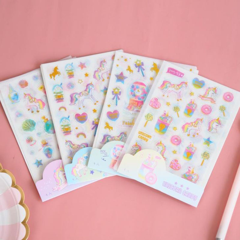 4 Pcs/pack Kawaii Candy Unicorn Gold Foil Washi Paper Stickers DIY Scrapbooking Diary Album Stationery Label Stickers Gifts