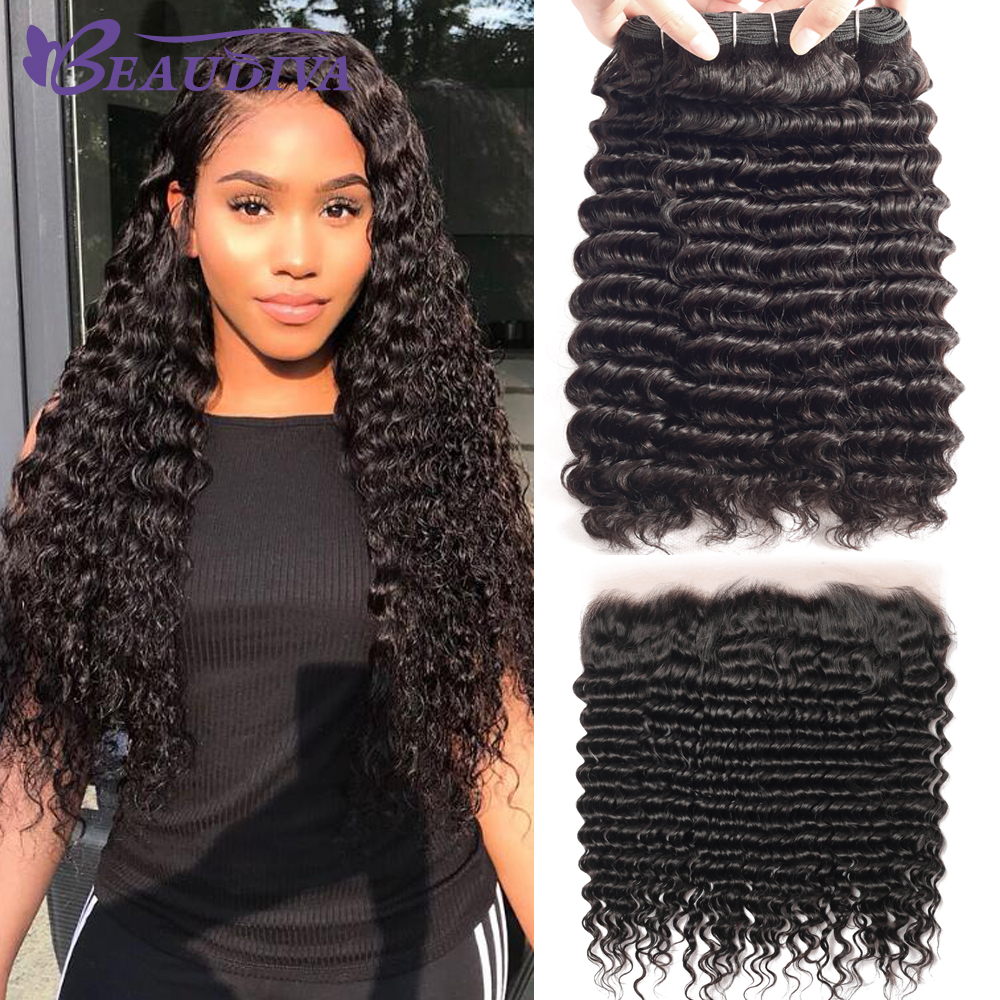 Deep Wave Human Hair 3 Bundles With Closure Brazilian Hair Weave Bundles With Frontal BEAUDIVA Remy Lace Frontal Closure