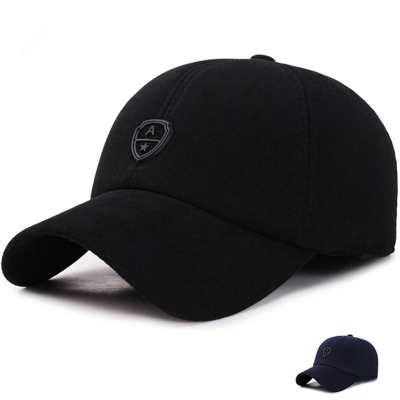 Winter Baseball Cap Men's Korean Version Of The Outdoor Cotton Visor Caps Autumn Winter Earmuffs Warm Hat Fashion Hip Hop Hats