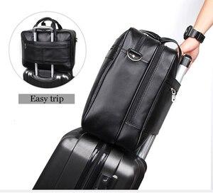 "Image 4 - Large Capacity Black Men Business Computer Briefcase Soft Genuine Leather 17"" Laptop Handbag Male Cowhide For Macbook Pro Air 17"