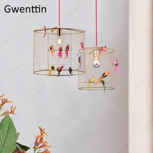 Image 1 - Креативный подвесной светильник в клетку для птиц, скандинавский Лофт, домашний декор для гостиной, спальни, подвесной светильник, современный светодиодный светильник, светильники