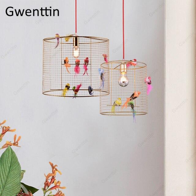 Креативный подвесной светильник в клетку для птиц, скандинавский Лофт, домашний декор для гостиной, спальни, подвесной светильник, современный светодиодный светильник, светильники
