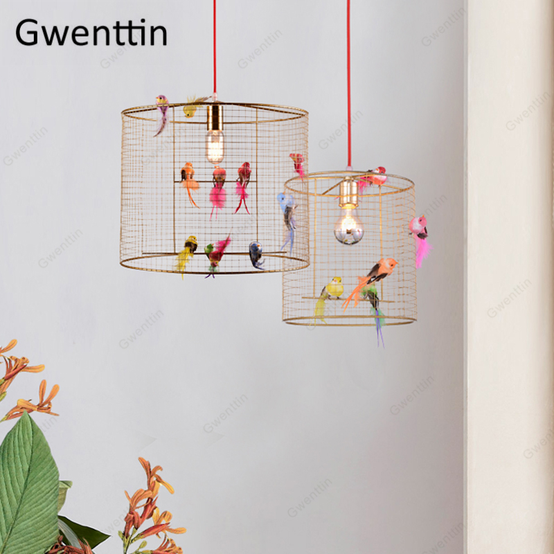 Creative Bird Cage Pendant Light Nordic Loft Home Decor For Living Room Bedroom Hanging Lamp Modern Led Light Fixtures Luminaire
