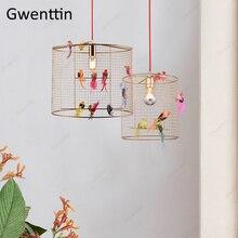 Kreatywny ptak lampa w kształcie wiszącej klatki Nordic Loft wystrój domu do salonu sypialnia wiszące lampy nowoczesne oprawy oświetlenia LED oprawa