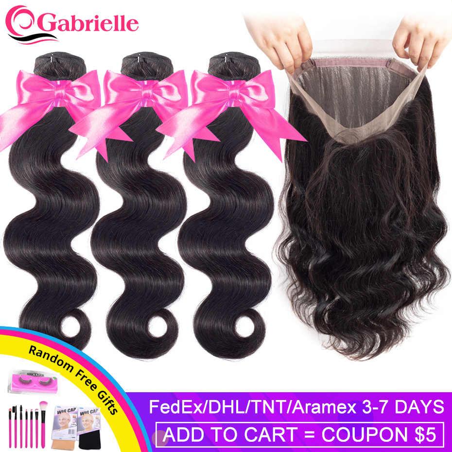 Gabrielle pacotes de onda do corpo brasileiro com frontal cor natural remy tecer cabelo humano 360 rendas frontal com pacotes