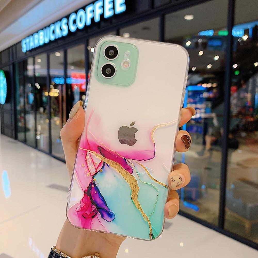 Aquarel Schilderij Telefoon Case Voor Iphone 12 11 Pro X Xr Max Mini Clear Shockproof Cover Voor Iphone 8 7 plus Xs Max Coque Funda
