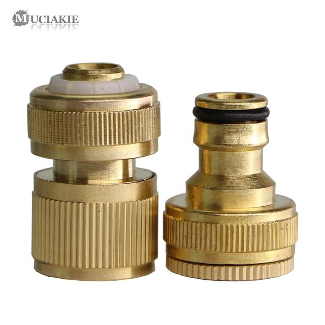 Mosiądz ogród wody adapter G1/2 3/4 gwint kran szybkie łączenie Connecter 1/2 Cal woda z węża pistolet pralka armatura